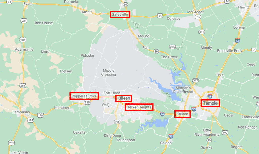 Fort Hood Surrounding Cities Map