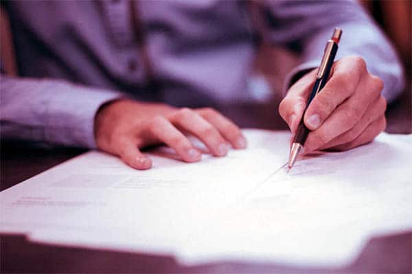 Signing the One to Four Residential Family Contract